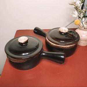 Vintage set of 2 black fondue bowls